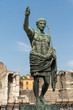 Bronze statue of Roman Emperor Augustus Caesar, or Octavian, Rome's first emperor, close to the Forum of Augustus