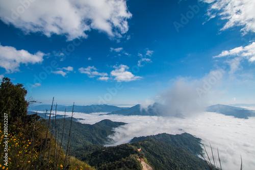 Aluminium Blauw winter in mountain Thailand