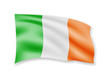 Waving Ireland Flag on white. Flag in the Wind. - 218054834