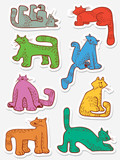 Stickers set with doodle cats. Collection with domestic pets in incomlete cute funny childrens style