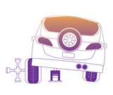 car with repair tools over white background, vector illustration