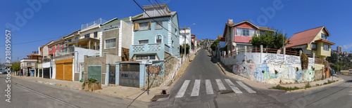 Street Instersection in Valparaiso, Chile - 218059057