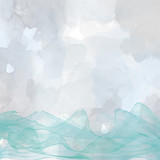 Abstract picture of the sea, waves, watercolor, hand-painted