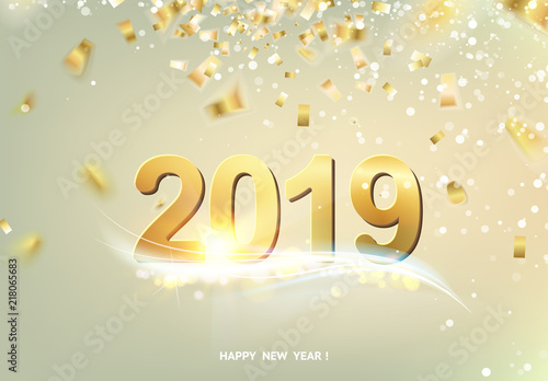 happy new year card over gray background with golden confetti text sign 2019 year