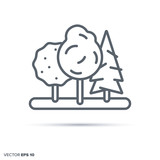 Trees in forest vector line icon.