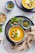 Leinwanddruck Bild - Pumpkin soup with cream.