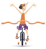 Cartoon man rides a bike and wins the race isolated illustration. Smiling man in helmet rides a bike and finishes with a winner ribbon isolated on white