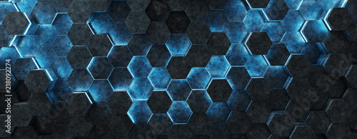 Black and blue hexagons background pattern 3D rendering - 218092274