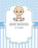 baby shower card. baby boy sitting. space for text
