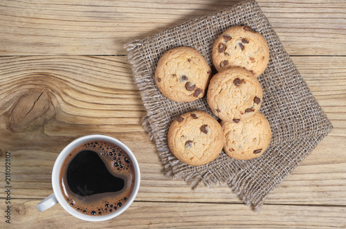 Coffee and cookies with chocolate