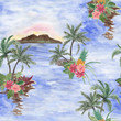 Watercolor painting seamless pattern with hawaiian landscape, palm tree, hibiscus flowers - 218099807