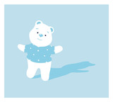 Vector Cartoon Illustration of a Polar Bear on a Light Blue Background