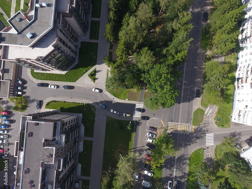 Plexiglas London Aerial photography top view driving to the courtyard of the city Troitsk ul.