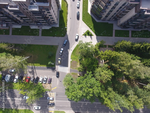 Sticker Aerial photography top view driving to the courtyard of the city Troitsk ul.