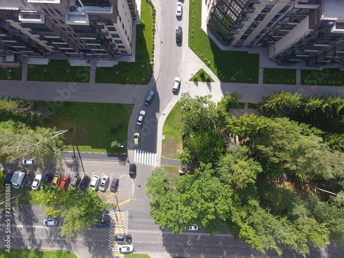 Foto Murales Aerial photography top view driving to the courtyard of the city Troitsk ul.