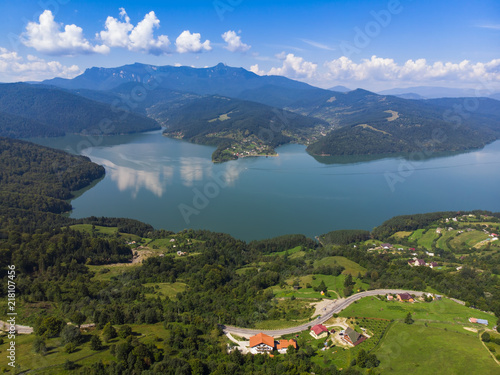 In de dag Natuur Mountain Spring lake (Izvorul Muntelui), Romania. Aerial view from professional drone