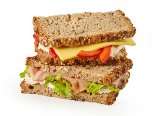 Healthy wholegrain sandwich with meat and cheese