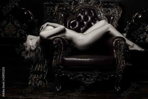 nude girl on armchair - 218113255