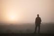 Man tourist meets dawn in Iceland