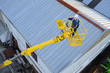 Quadro top view of a crane operator working