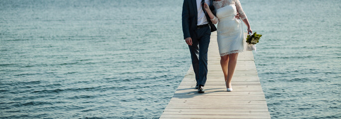 happy wedding, bride and groom together