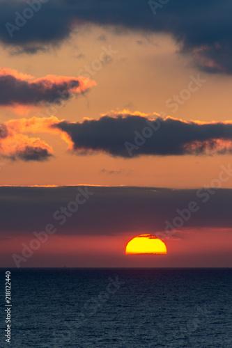 Canvas Zee zonsondergang Sunset