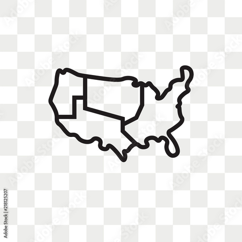 US map vector icon isolated on transparent background, US map logo ...