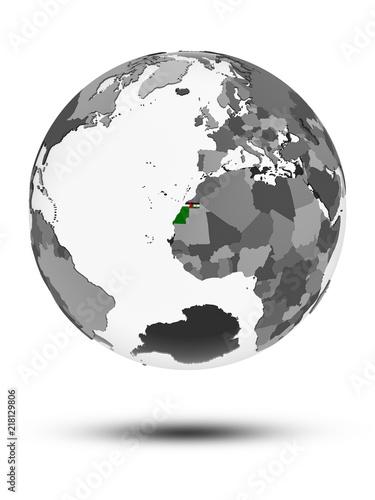 Western Sahara on political globe isolated