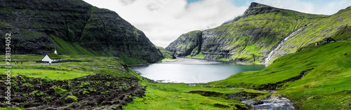 In de dag Landschappen Panoramic view of Saksun, Faroe Islands