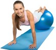 Leinwanddruck Bild - Portrait of a Fit Woman Exercising with Gym Ball