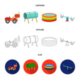 Machine for radio control, tunnel, trampoline, swing. Playground set collection icons in cartoon,outline,flat style vector symbol stock illustration web.