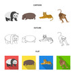 Bamboo bear, hippopotamus, wild animal tiger, monkey . Wild animal set collection icons in cartoon,outline,flat style vector symbol stock illustration web.