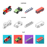 Motorcycle, golf cart, train, bus. Transport set collection icons in cartoon,outline,flat style vector symbol stock illustration web.