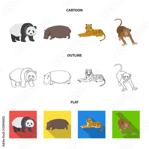 Plakat Bamboo bear, hippopotamus, wild animal tiger, monkey . Wild animal set collection icons in cartoon,outline,flat style vector symbol stock illustration web.