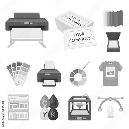 Produkty typograficzne monochromatyczne ikony w zestaw kolekcja dla projektu. Druk i wyposażenia wektorowa symbolu zapasu sieci ilustracja.