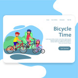 Enjoying Bicycle Time Family Illustration Landing Page