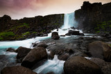 Oxararfoss waterfall in Thingvellir National Park ,Iceland.
