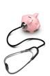 Leinwanddruck Bild - Piggy Bank with Stethoscope