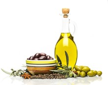 Bottles Of Olive Oil  Olives And Spices Sticker