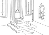 Throne room graphic castle interior black white medieval sketch illustration vector - 218155403