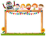 A frame board with happy children - 218157460