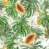 Beautiful watercolor tropical pattern with flowers, leaves, fruits papaya and lemon.  - 218159288