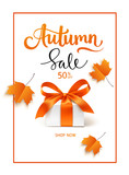 Autumn Sale template design. Lettering with gift box and red maple leaves.Vector illustration - 218161002