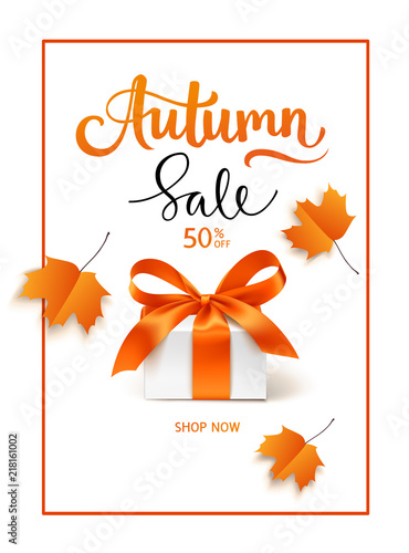 Autumn Sale template design. Lettering with gift box and red maple leaves.Vector illustration