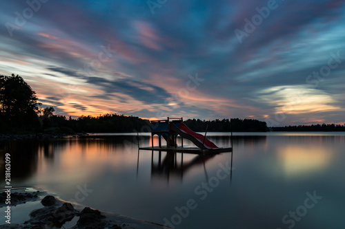 Foto Murales Evening in the lake