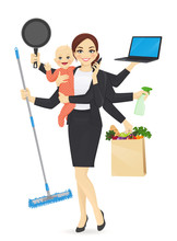 Mother  Newborn Baby In Business Clothes Cleaning Shopping Talking By Phone Cooking And Working  Illustration Sticker