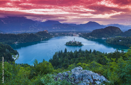 lake Bled at sunset. Slovenia