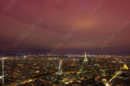 Poster cityscape of Paris, France after sunset