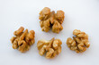 Detail of isolated walnuts on a white background
