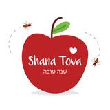 Shana Tova vector greeting card with apple and honey bees, symbols of Rosh Hashanah, jewish new year, traditional holiday. - 218171247